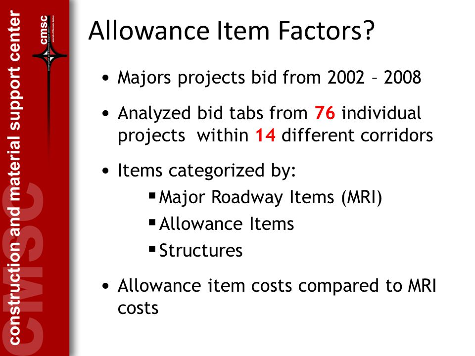 Allowance Item Factors.