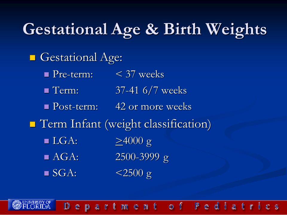 Gestational Age & Birth Weights Gestational Age: Gestational Age: Pre-term: < 37 weeks Pre-term: < 37 weeks Term: 37-41 6/7 weeks Term: 37-41 6/7 week