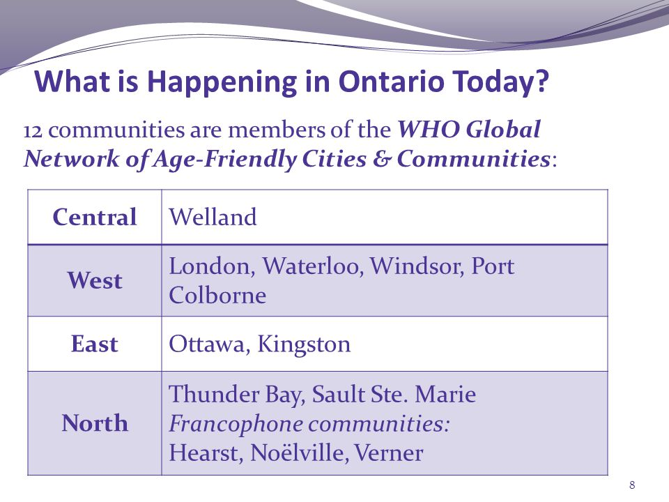 12 communities are members of the WHO Global Network of Age-Friendly Cities & Communities: What is Happening in Ontario Today.