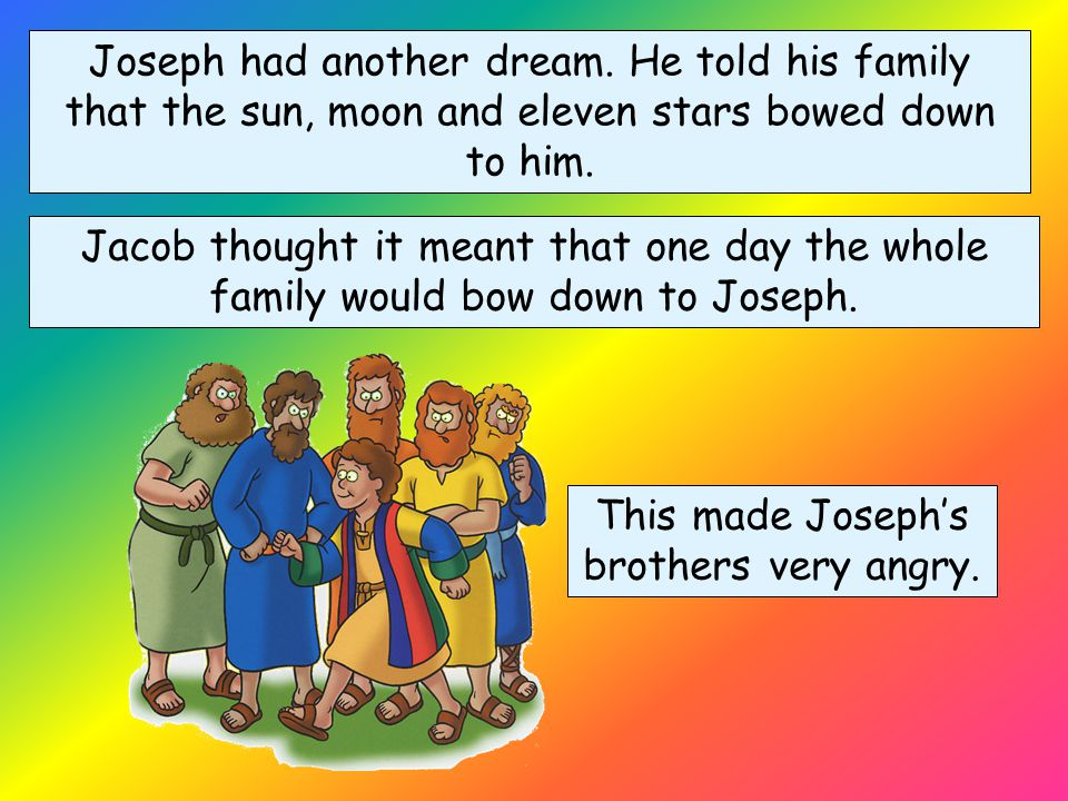 One night Joseph had a dream. When he awoke, Joseph told his brothers that he had dreamt that their bundles of grain had bowed down to his bundle of g