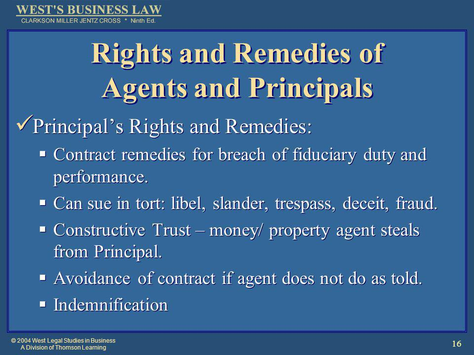 © 2004 West Legal Studies in Business A Division of Thomson Learning 16 Principal's Rights and Remedies:  Contract remedies for breach of fiduciary duty and performance.