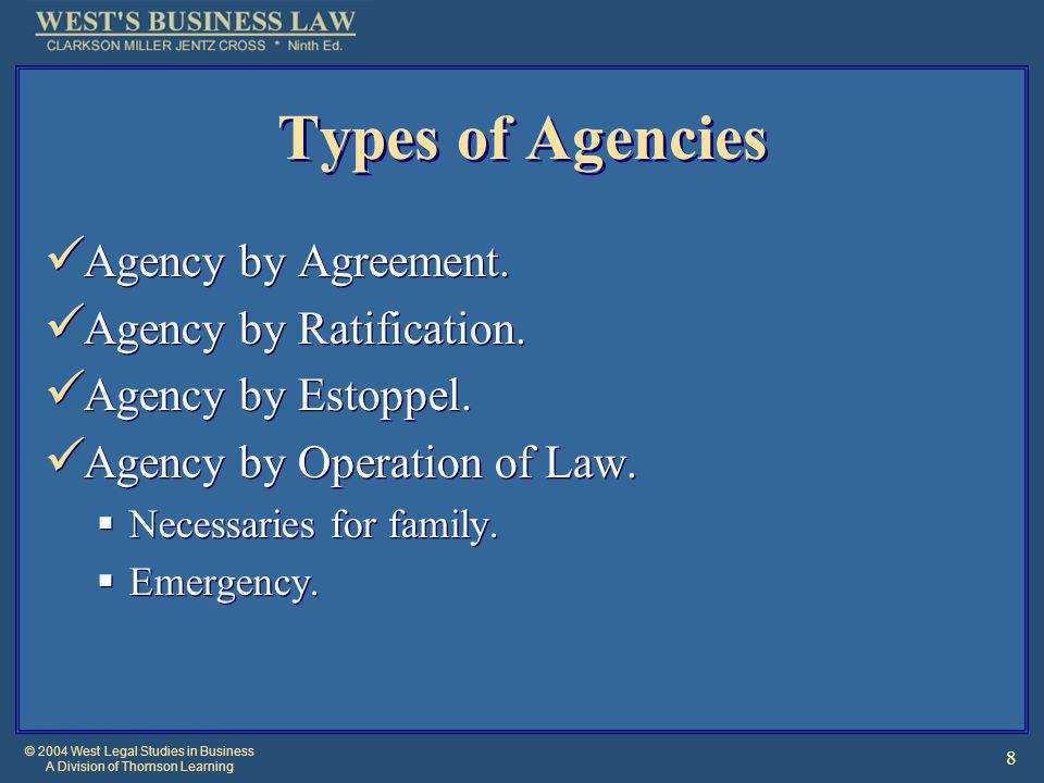 © 2004 West Legal Studies in Business A Division of Thomson Learning 9 Agency By Agreement Formed through express consent (oral or written) or implied by conduct.