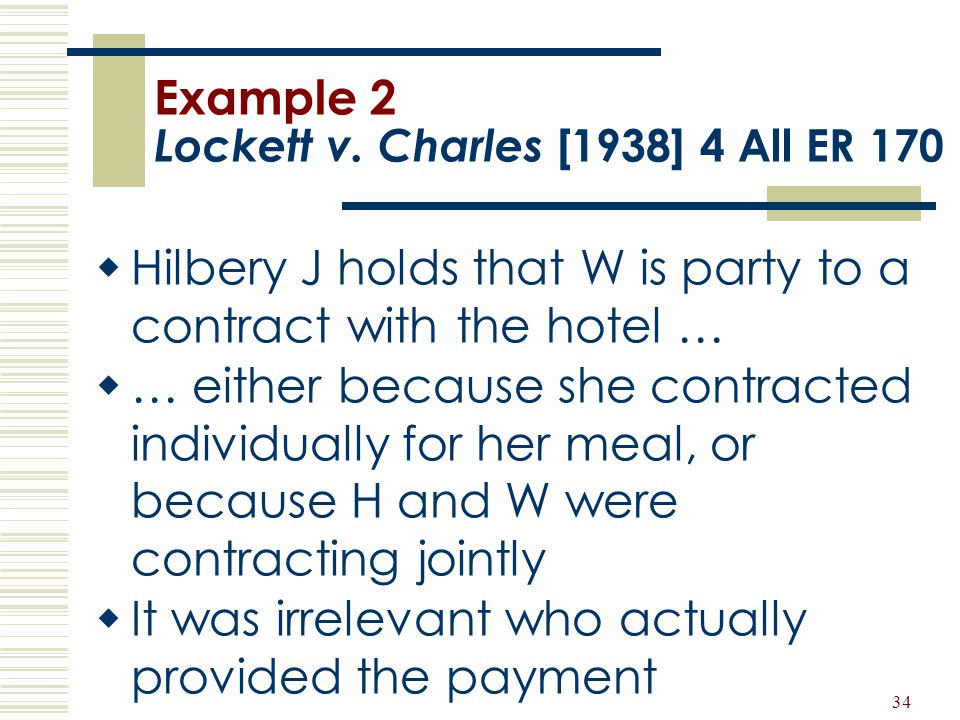 34 Example 2 Lockett v. Charles [1938] 4 All ER 170  Hilbery J holds that W is party to a contract with the hotel …  … either because she contracted