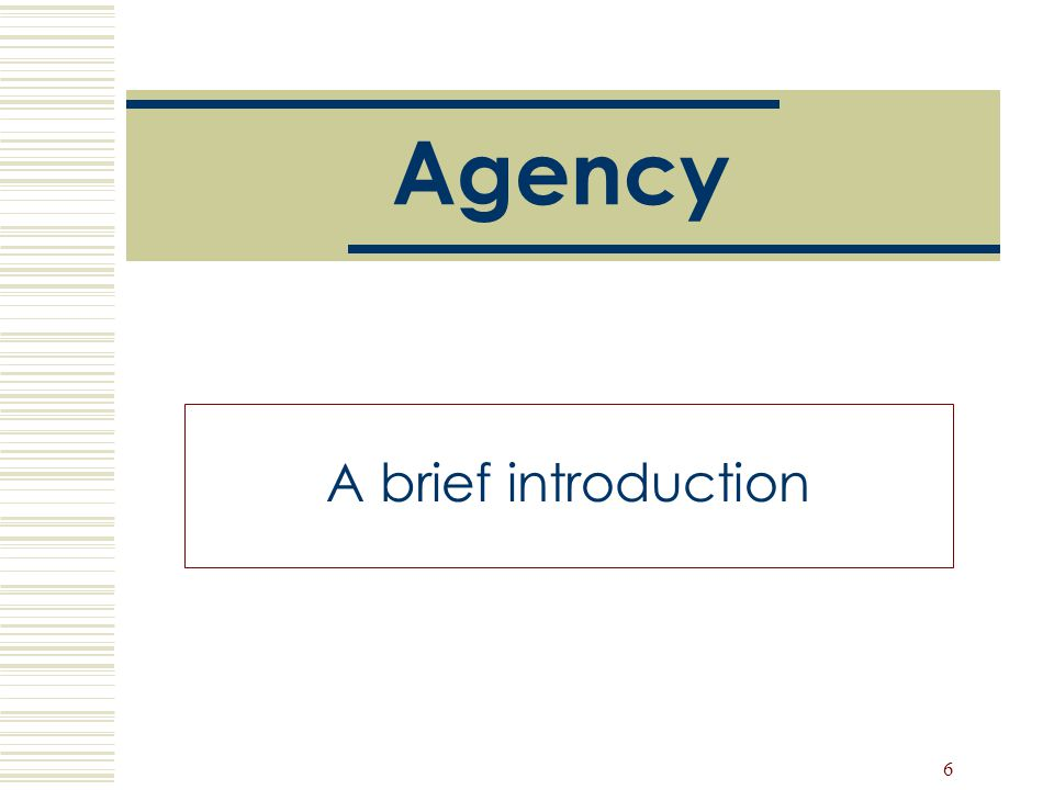 6 Agency A brief introduction