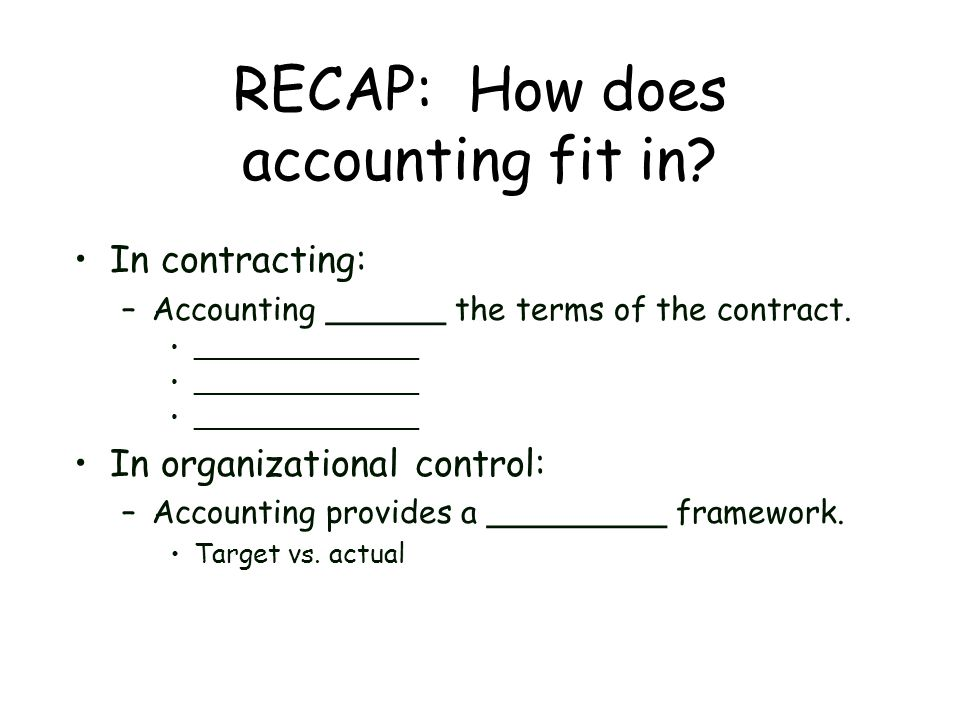 RECAP: How does accounting fit in? In contracting: –Accounting ______ the terms of the contract. _______________ In organizational control: –Accountin