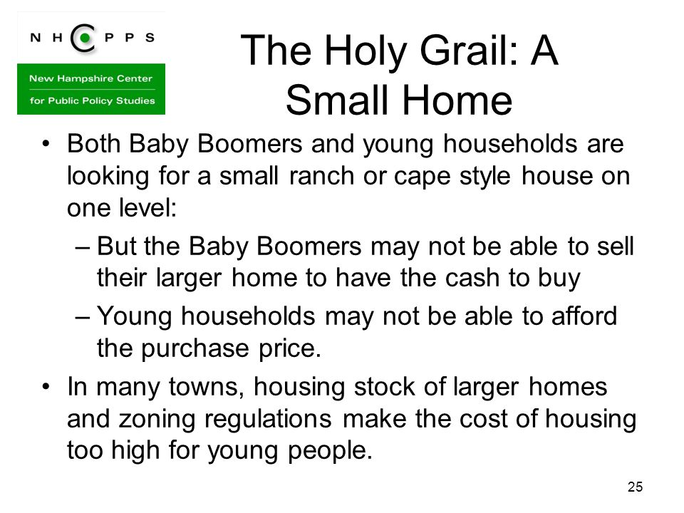 The Holy Grail: A Small Home Both Baby Boomers and young households are looking for a small ranch or cape style house on one level: –But the Baby Boomers may not be able to sell their larger home to have the cash to buy –Young households may not be able to afford the purchase price.