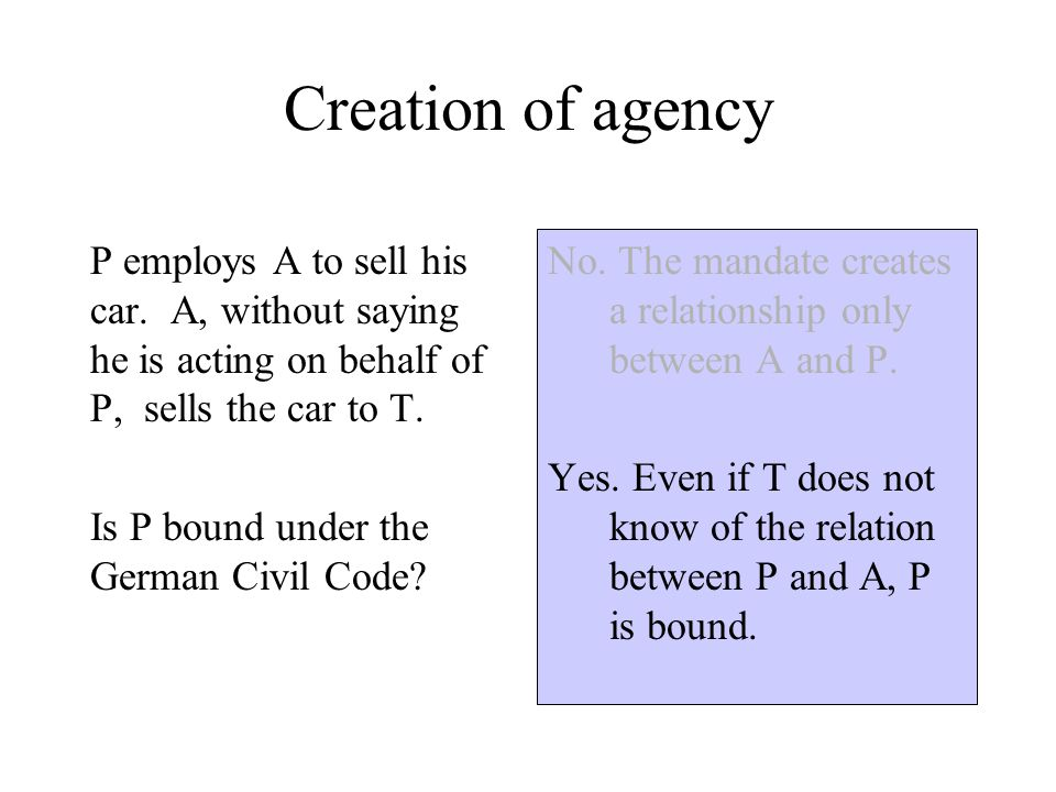 Creation of agency P employs A to sell his car.