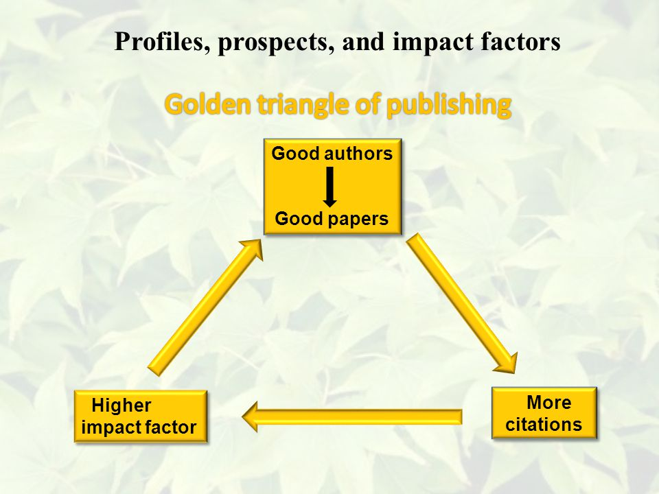 More citations More citations Higher impact factor Higher impact factor Good authors Good papers Good authors Good papers Profiles, prospects, and impact factors