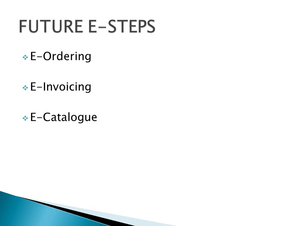  E-Ordering  E-Invoicing  E-Catalogue
