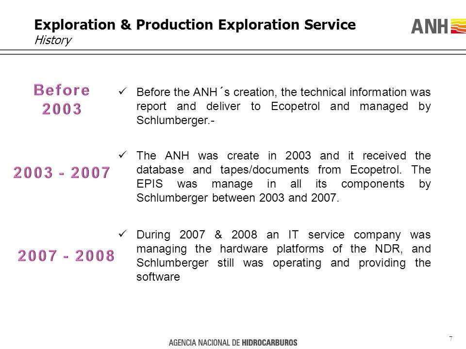 7 Exploration & Production Exploration Service History Before the ANH´s creation, the technical information was report and deliver to Ecopetrol and managed by Schlumberger.- The ANH was create in 2003 and it received the database and tapes/documents from Ecopetrol.