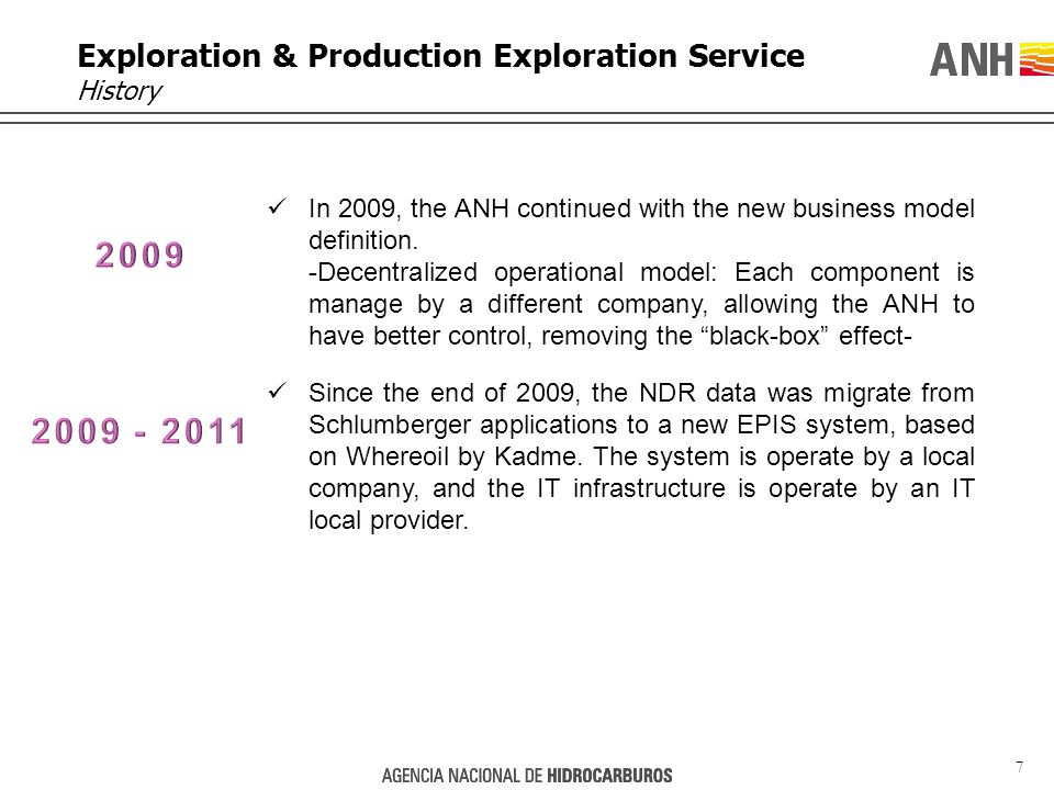 7 Exploration & Production Exploration Service History In 2009, the ANH continued with the new business model definition.