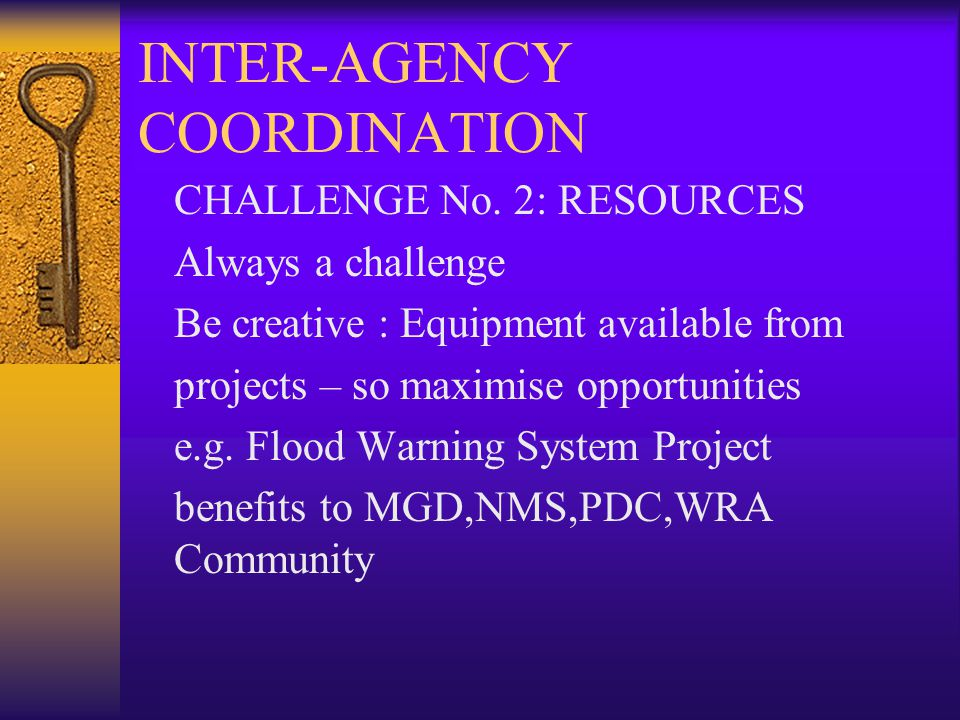 INTER-AGENCY COORDINATION CHALLENGE No.
