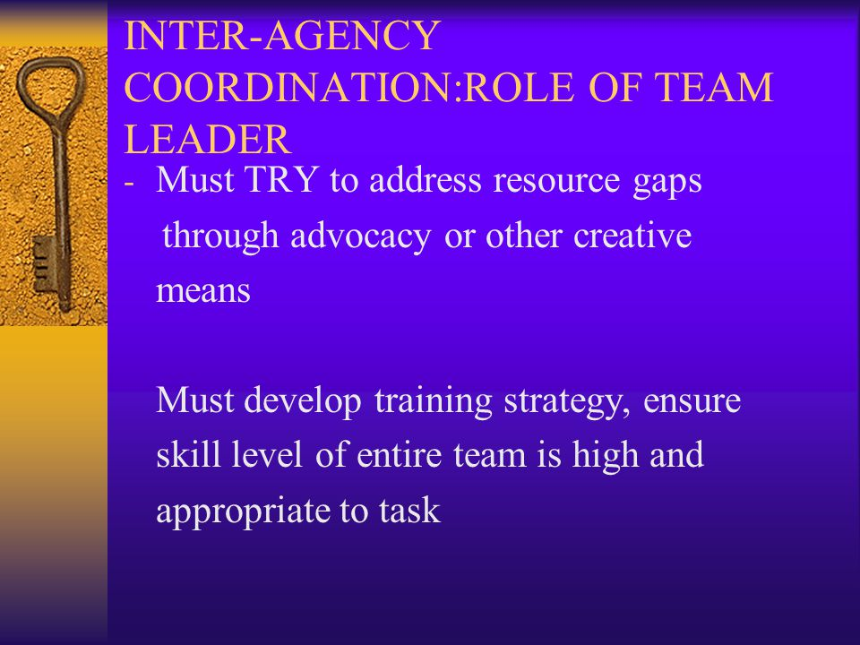 INTER-AGENCY COORDINATION:ROLE OF TEAM LEADER - Must TRY to address resource gaps through advocacy or other creative means Must develop training strategy, ensure skill level of entire team is high and appropriate to task