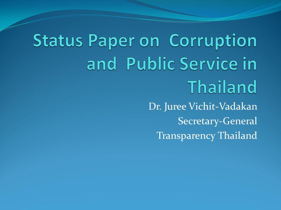 Dr. Juree Vichit-Vadakan Secretary-General Transparency Thailand