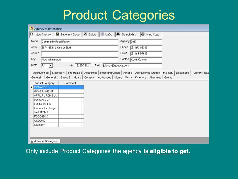 Product Categories Only include Product Categories the agency is eligible to get.