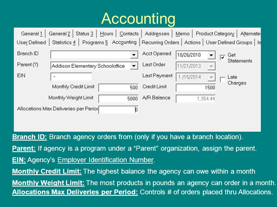 Accounting Branch ID: Branch agency orders from (only if you have a branch location).