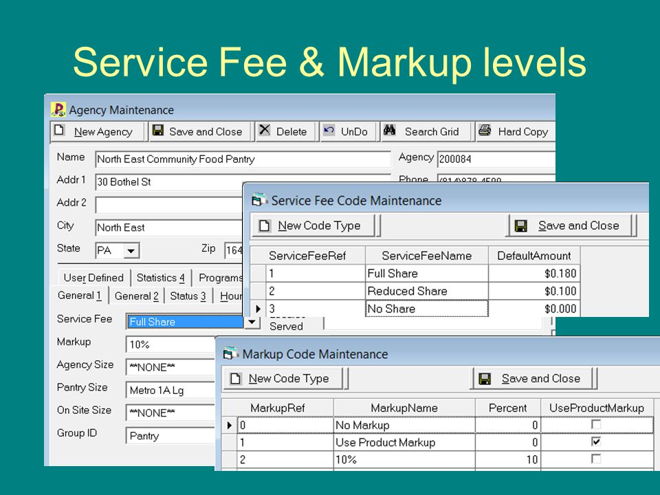 Service Fee & Markup levels