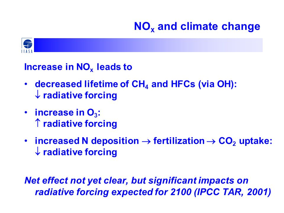NO x and climate change Increase in NO x leads to decreased lifetime of CH 4 and HFCs (via OH):  radiative forcing increase in O 3 :  radiative forc