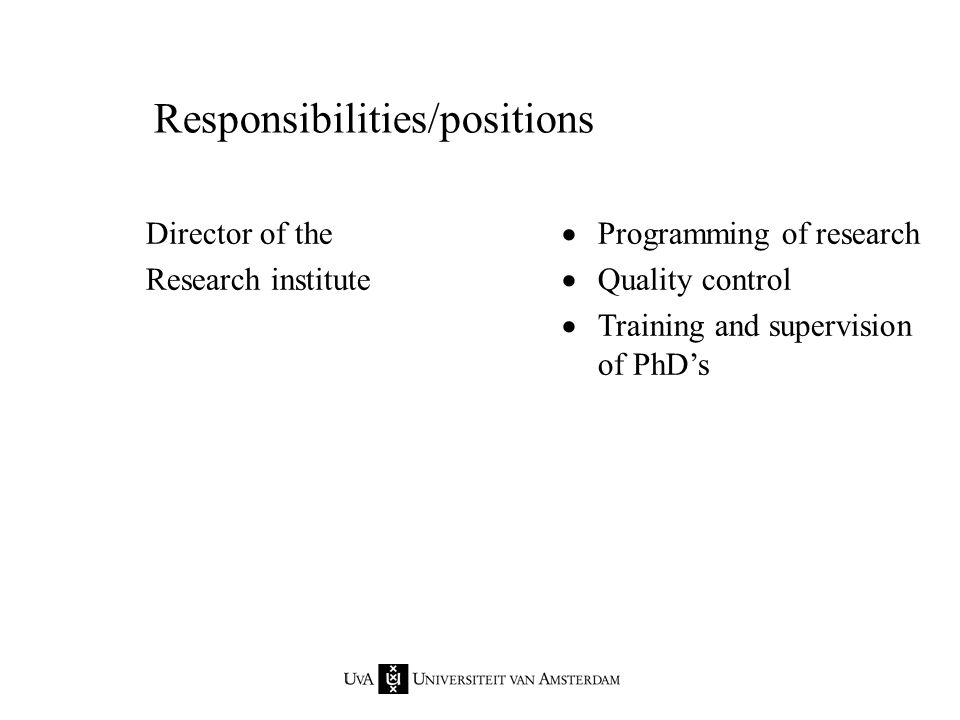 Responsibilities/positions Director of the Research institute  Programming of research  Quality control  Training and supervision of PhD's