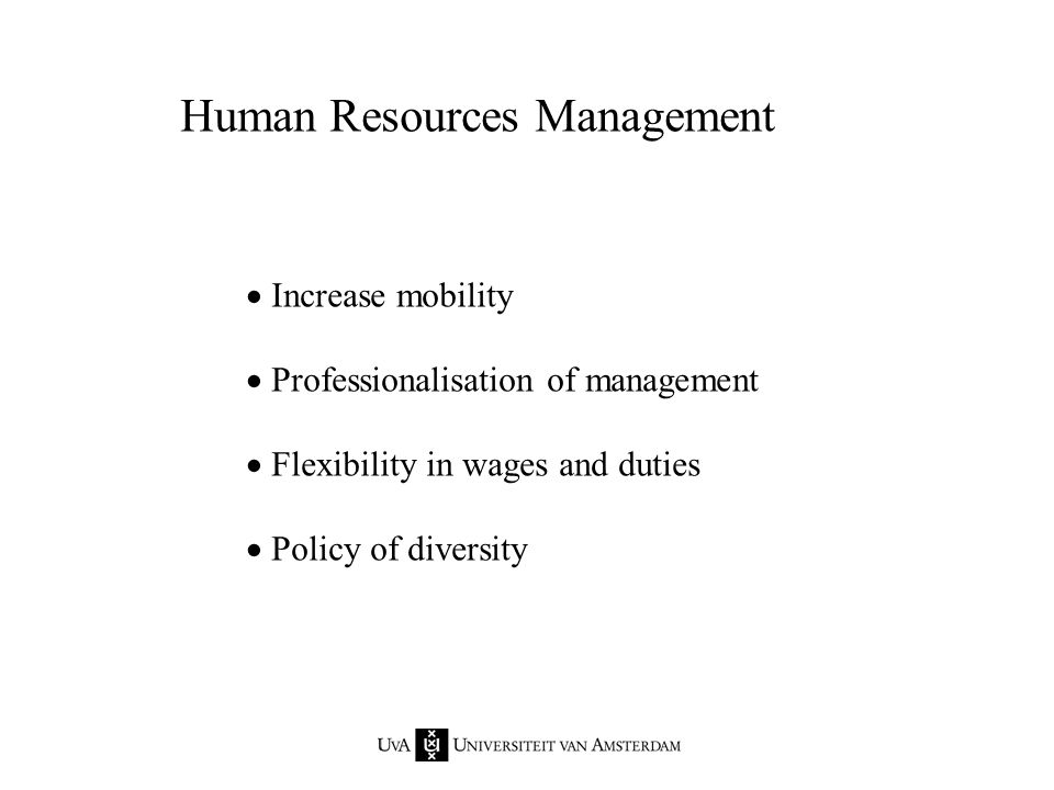 Human Resources Management  Increase mobility  Professionalisation of management  Flexibility in wages and duties  Policy of diversity