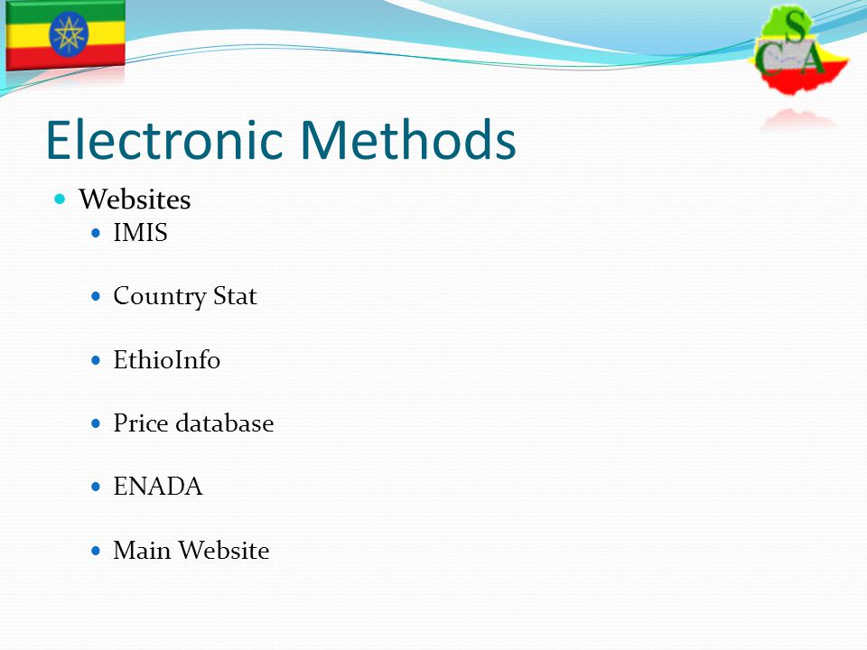 Electronic Methods Websites IMIS Country Stat EthioInfo Price database ENADA Main Website