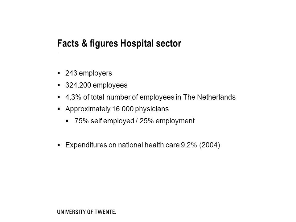 Facts & figures Hospital sector  243 employers  employees  4,3% of total number of employees in The Netherlands  Approximately physicians  75% self employed / 25% employment  Expenditures on national health care 9,2% (2004)
