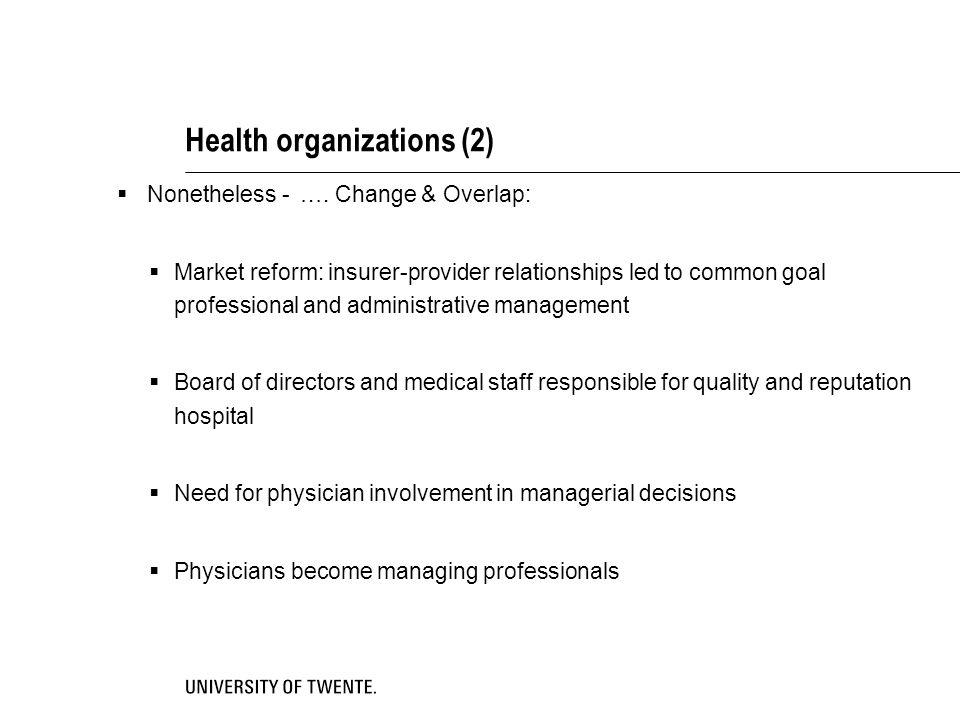 Health organizations (2)  Nonetheless - ….