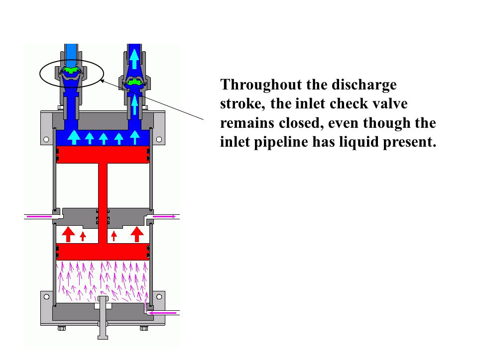 Throughout the discharge stroke, the inlet check valve remains closed, even though the inlet pipeline has liquid present.