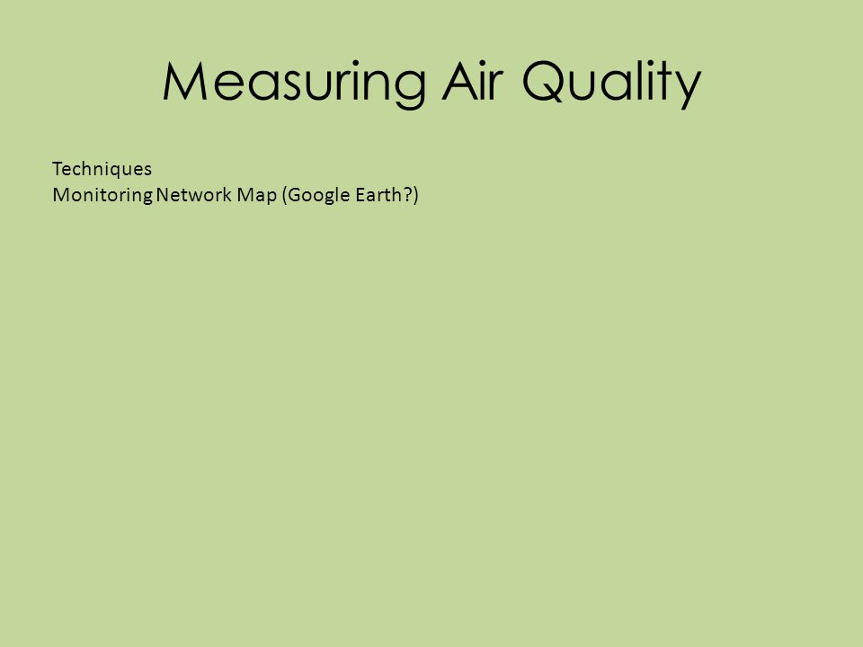 Measuring Air Quality Techniques Monitoring Network Map (Google Earth )