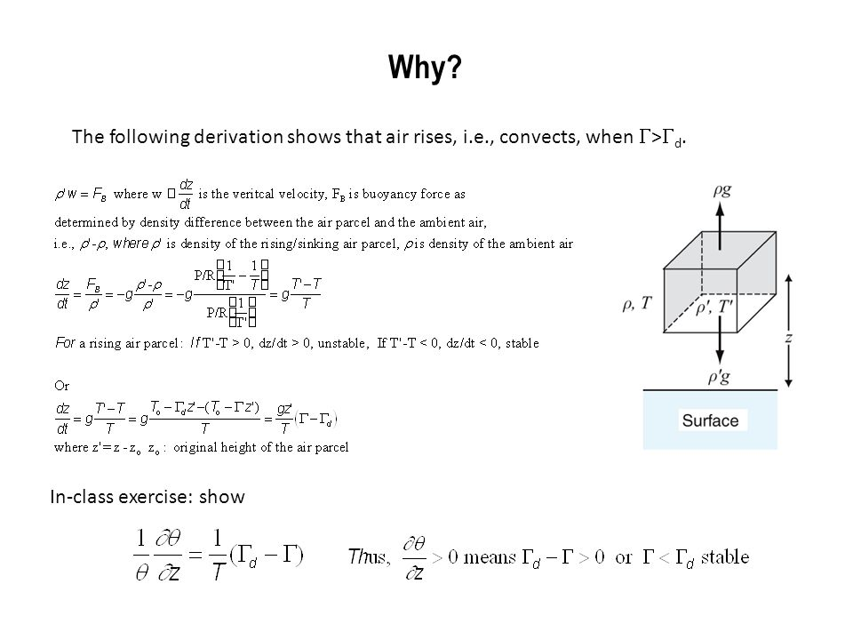 Why? In-class exercise: show The following derivation shows that air rises, i.e., convects, when  >  d.