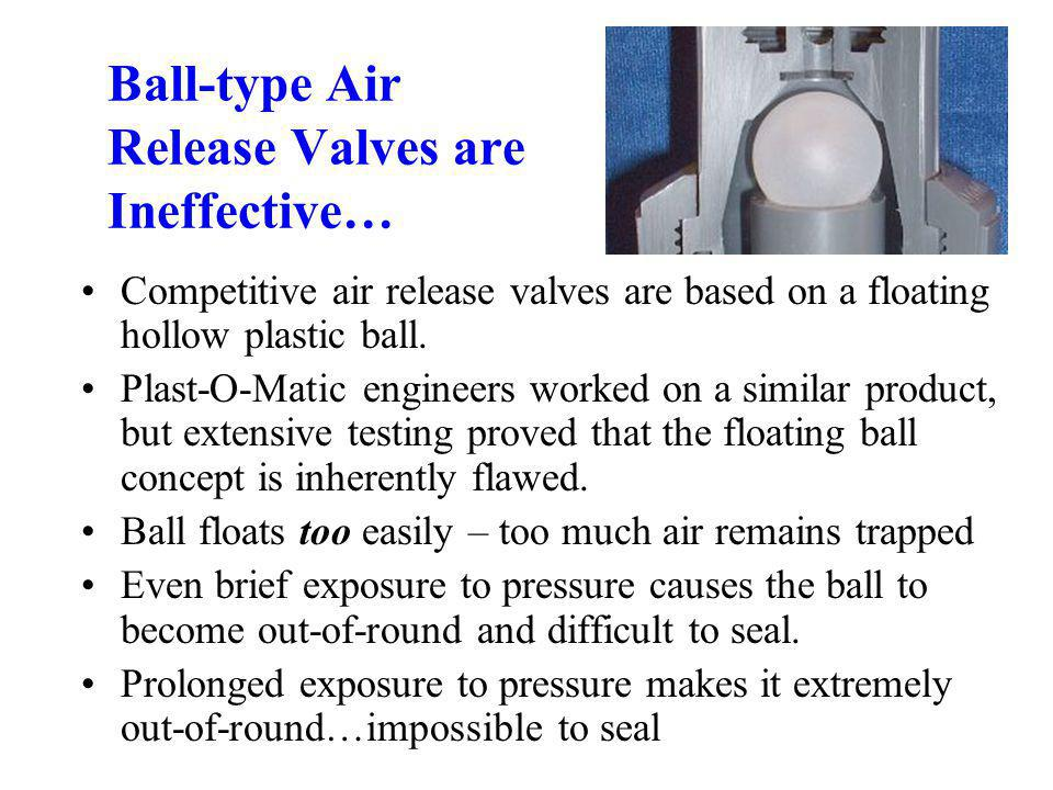 Ball-type Air Release Valves are Ineffective… Competitive air release valves are based on a floating hollow plastic ball.