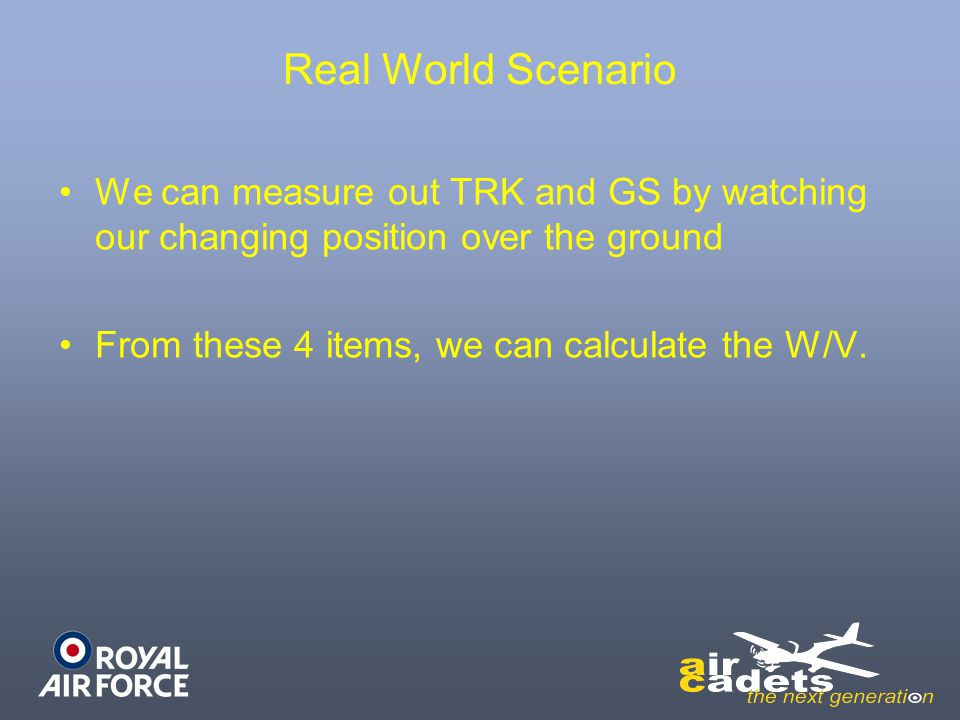 Real World Scenario We can measure out TRK and GS by watching our changing position over the ground From these 4 items, we can calculate the W/V.