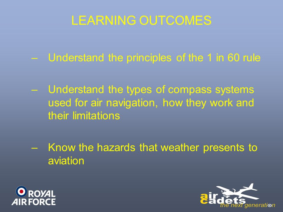 –Understand the principles of the 1 in 60 rule –Understand the types of compass systems used for air navigation, how they work and their limitations –Know the hazards that weather presents to aviation