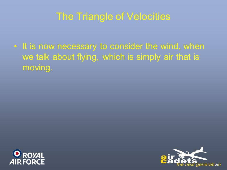 The Triangle of Velocities It is now necessary to consider the wind, when we talk about flying, which is simply air that is moving.
