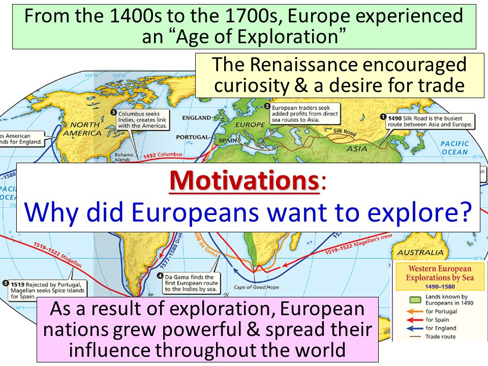 Portugal was the early leader in the Age of Exploration In Portugal, Prince Henry the Navigator started a school of navigation to train sailors He brought in Europe's best map-makers, ship-builders, & sailing instructors He wanted to discover new territories, find a quick trade route to Asia, & expand Portugal's power