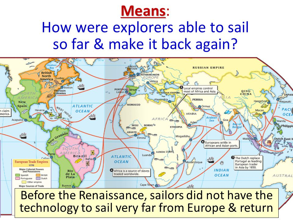 Navigation Trade & cultural diffusion during the Renaissance introduced new navigation techniques to Europeans Magnetic compass made sailing more accurate Astrolabe used stars to show direction Maps were more accurate and used longitude & latitude