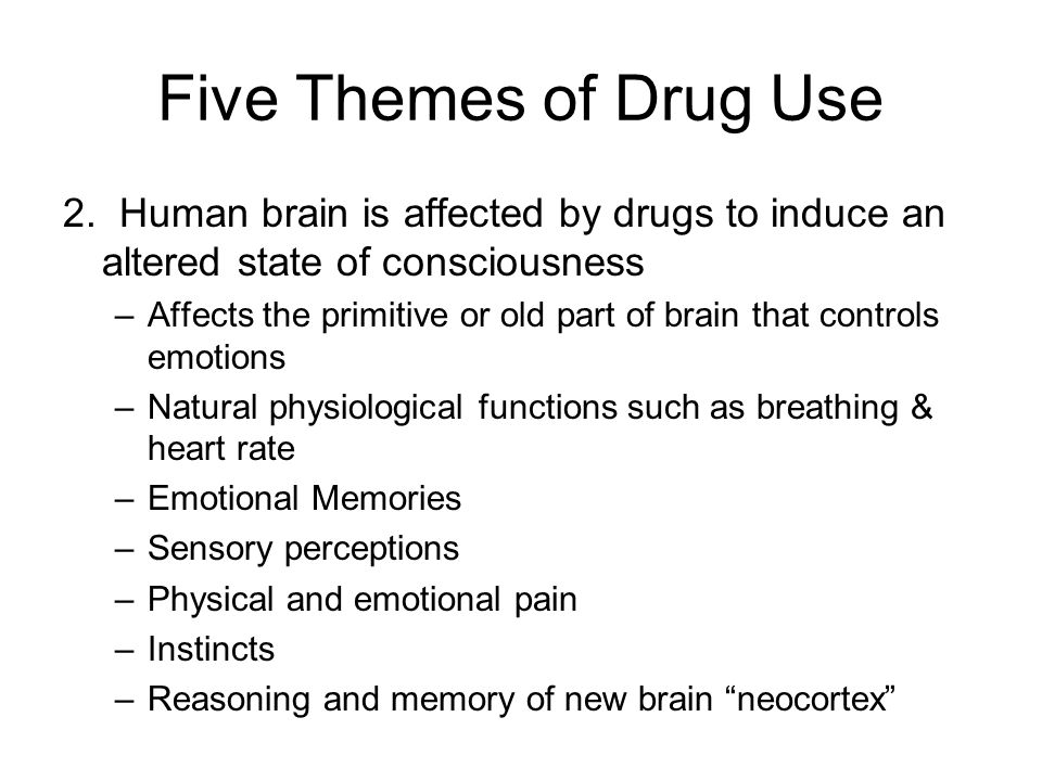 Five Themes of Drug Use 2. Human brain is affected by drugs to induce an altered state of consciousness –Affects the primitive or old part of brain th