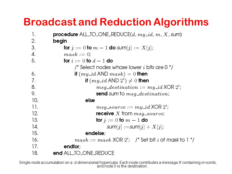 Broadcast and Reduction Algorithms Single-node accumulation on a d-dimensional hypercube. Each node contributes a message X containing m words, and no