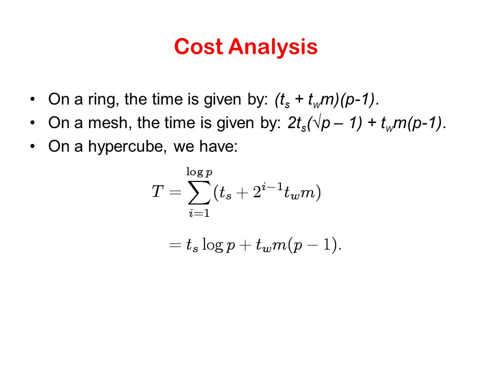 Cost Analysis On a ring, the time is given by: (t s + t w m)(p-1). On a mesh, the time is given by: 2t s (√p – 1) + t w m(p-1). On a hypercube, we hav
