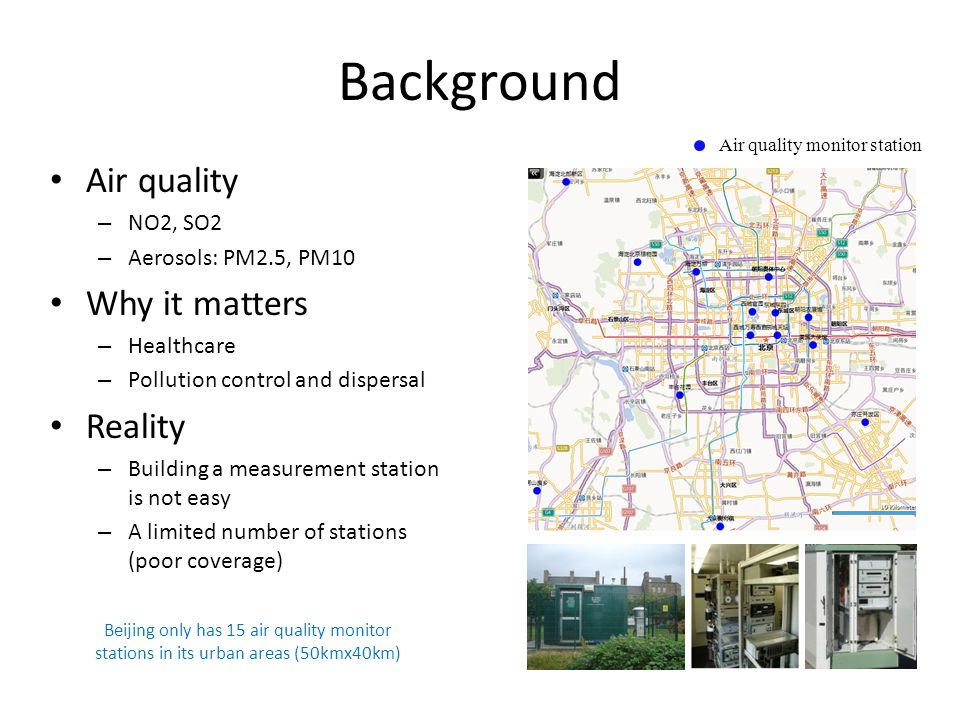 Background Air quality – NO2, SO2 – Aerosols: PM2.5, PM10 Why it matters – Healthcare – Pollution control and dispersal Reality – Building a measureme