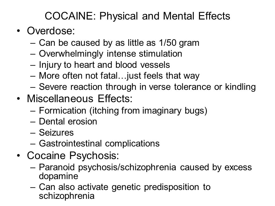 COCAINE: Physical and Mental Effects Overdose: –Can be caused by as little as 1/50 gram –Overwhelmingly intense stimulation –Injury to heart and blood vessels –More often not fatal…just feels that way –Severe reaction through in verse tolerance or kindling Miscellaneous Effects: –Formication (itching from imaginary bugs) –Dental erosion –Seizures –Gastrointestinal complications Cocaine Psychosis: –Paranoid psychosis/schizophrenia caused by excess dopamine –Can also activate genetic predisposition to schizophrenia