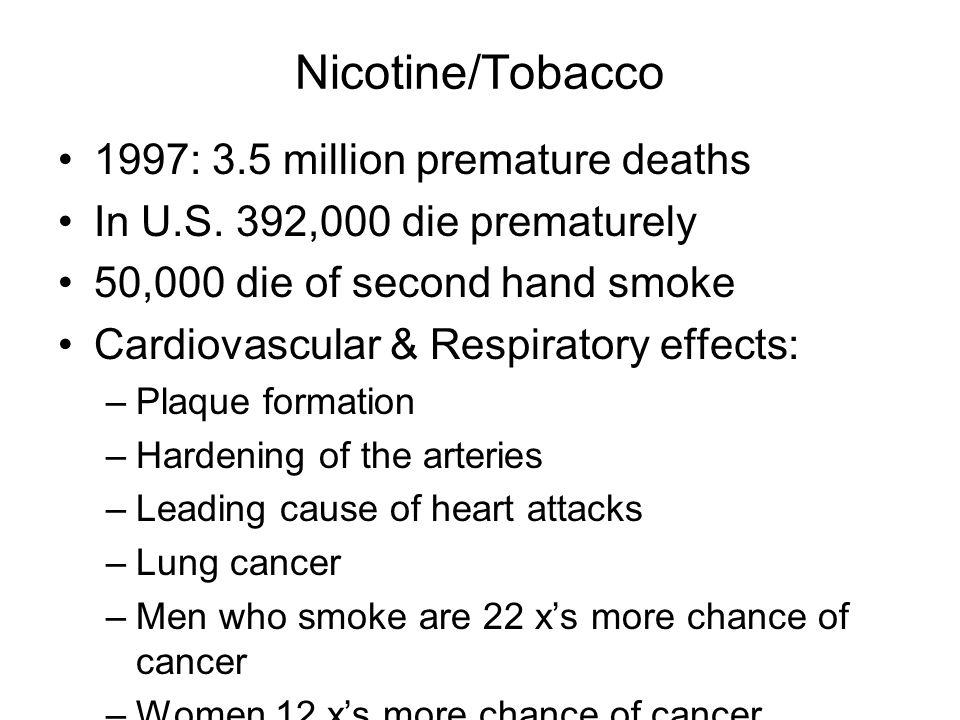 Nicotine/Tobacco 1997: 3.5 million premature deaths In U.S.