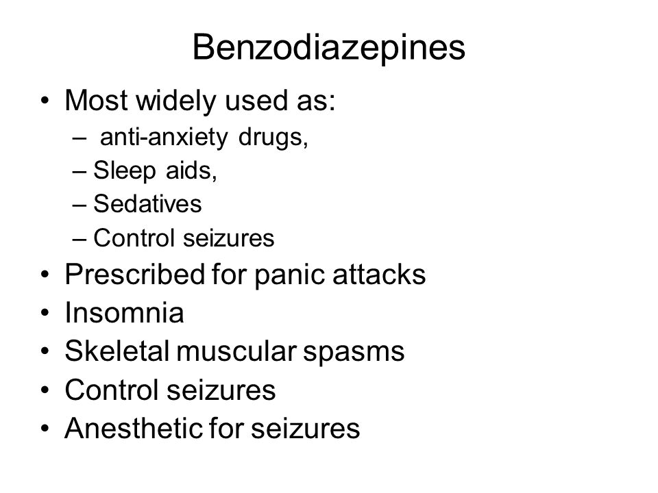 Benzodiazepines Non Medical Use: –Often abused with other drugs To come down off fo methamphetamine, cocaine Substitute as heroin To prevent alcohol withdrawal symptoms Abusers then to be over 30 years, White, weel-educated and female –Neurotransmitter GABA –Converted by live to metabolites more strong that original drug –Tolerance develops as liver becomes more efficient in processing drug –Younger person can tolerate higher doses