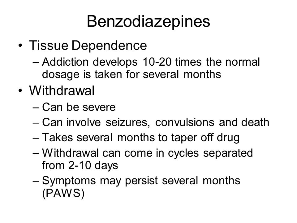 Benzodiazepines Overdose –Takes 700 Xs the therapeutic dose to be lethal –Symptoms include Drowsiness Loss of consciousness Depressed breathing Coma Death if left untreated Rohhyponal (Date Rape Drug) –Memory impairment –1996 banned in America –Used to sexually assault someone or commit violence