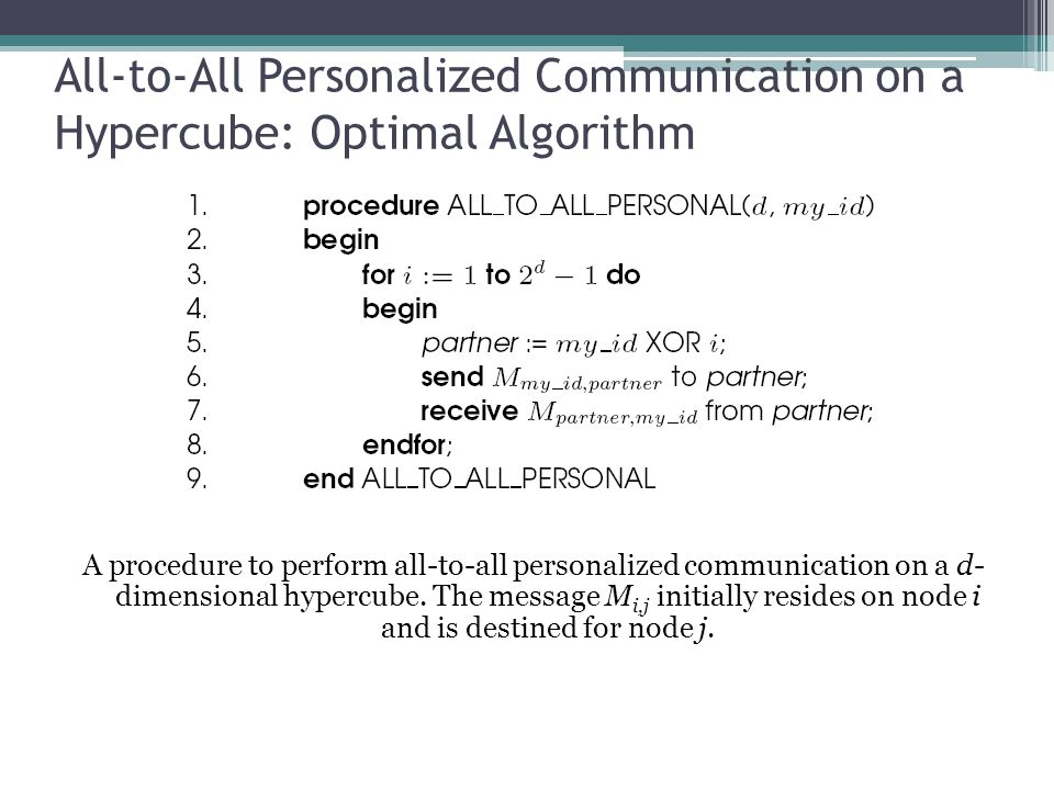 All-to-All Personalized Communication on a Hypercube: Optimal Algorithm A procedure to perform all-to-all personalized communication on a d- dimension