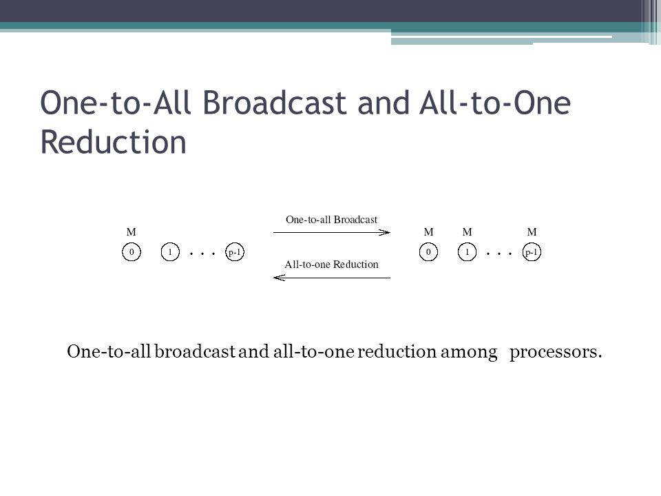 One-to-All Broadcast and All-to-One Reduction One-to-all broadcast and all-to-one reduction among processors.