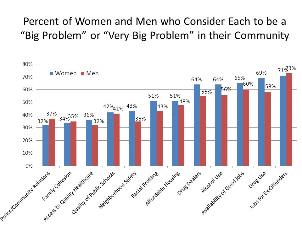 "Percent of Women and Men who Consider Each to be a ""Big Problem"" or ""Very Big Problem"" in their Community"