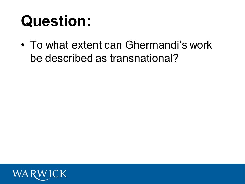 Question: To what extent can Ghermandi's work be described as transnational