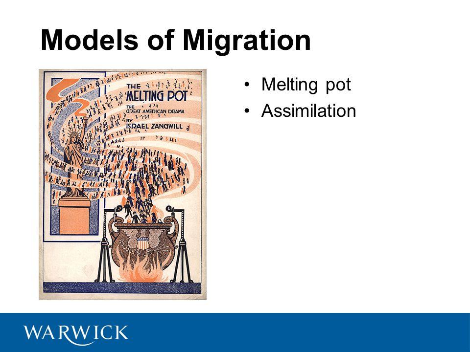Models of Migration Melting pot Assimilation