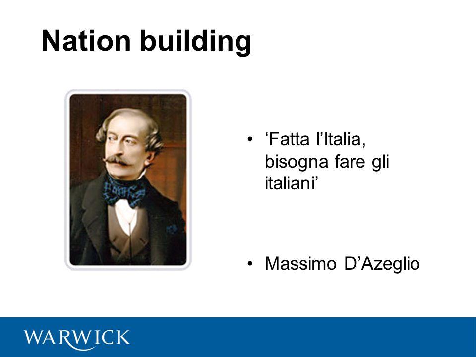 Nation building 'Fatta l'Italia, bisogna fare gli italiani' Massimo D'Azeglio